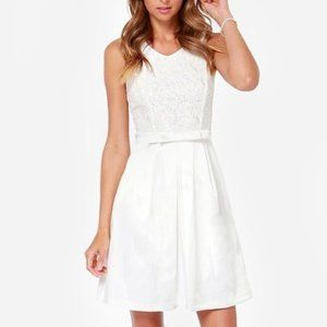 LuLu's Dress Off-White Midi Sleeveless Bow S